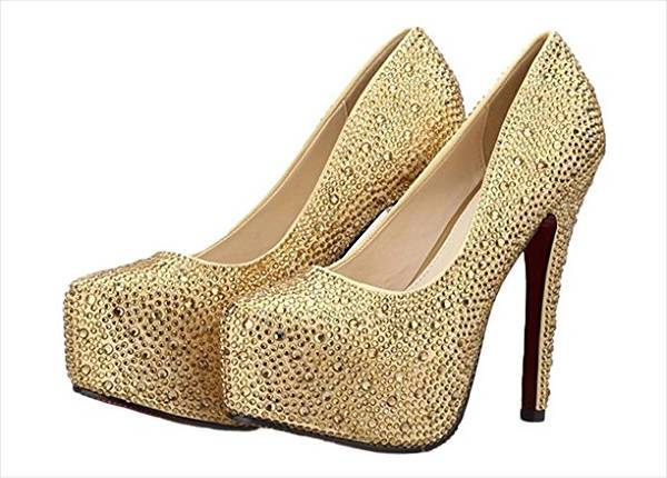 gold glitter stone bridal shoes