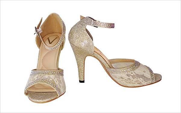 Rhinestone High Heel Bridal Shoes