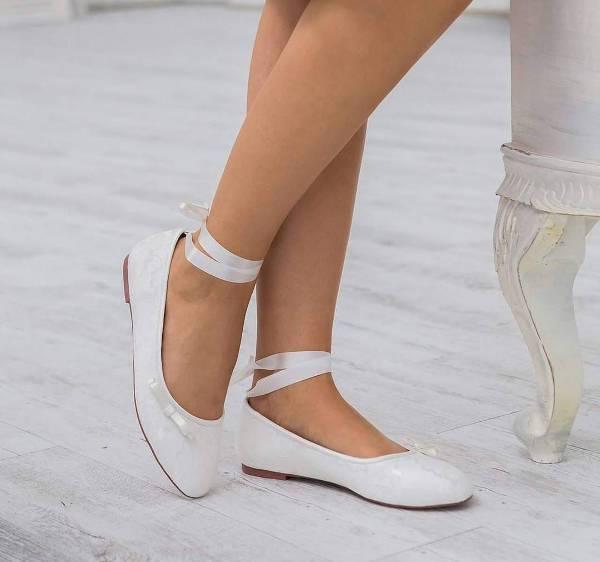 White Bridal Flat Shoes