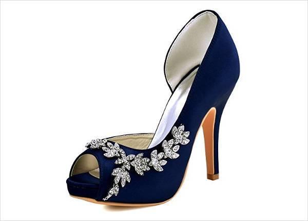 Bright Blue Bridal Shoes Design