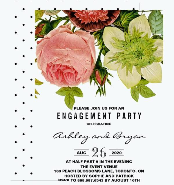 Botanical Flowers Vintage Engagement Party Invitation