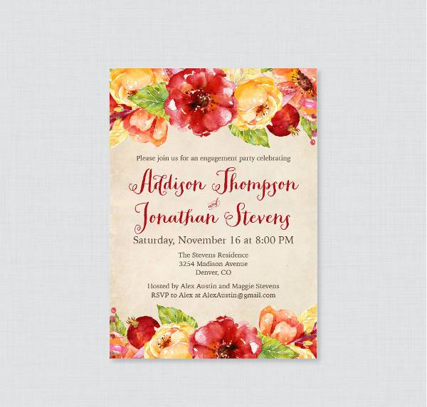 Fall Printable Engagement Party Invitation