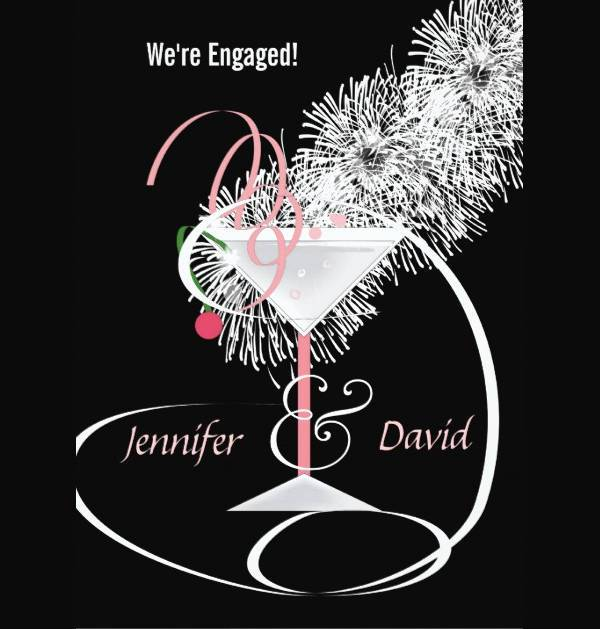 Classy Cocktail Engagement Party Invitation