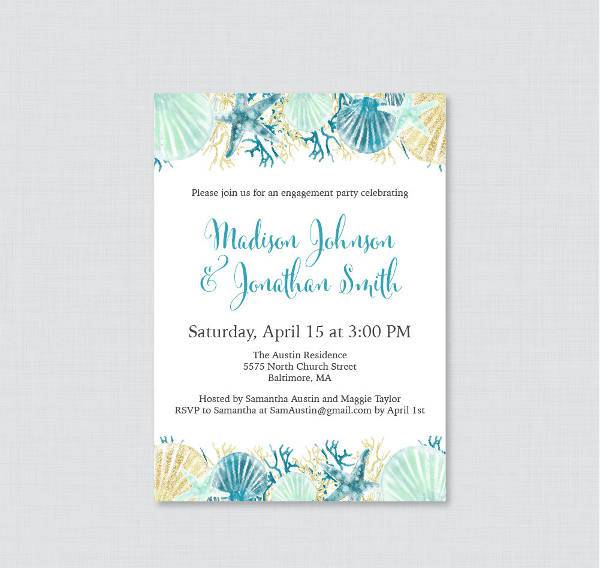 10 Engagement Party Invitations Printable PSD AI Vector EPS – Beach Themed Party Invitations