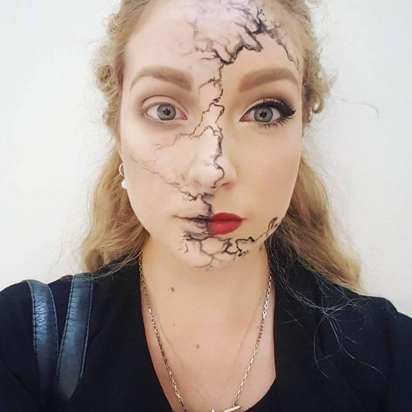 half face broken doll makeup