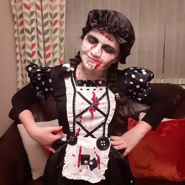 kids zombie doll makeup