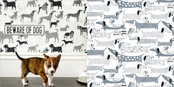 dog motif wallpaper