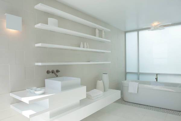 bathroom floating wall shelves design