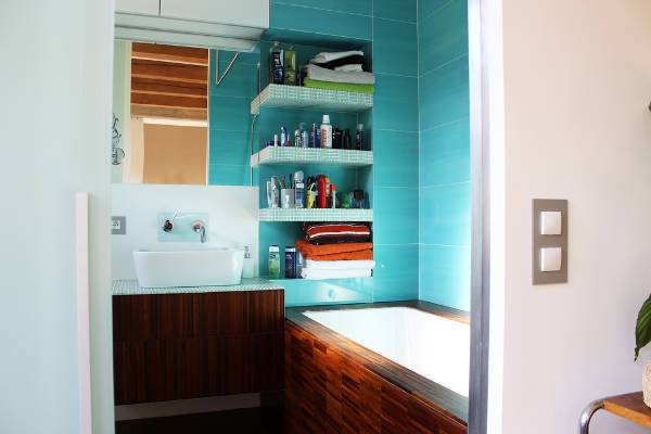 apartment bathroom vanity shelves idea