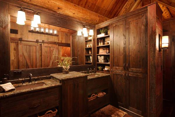 rustic wood bathroom shelves