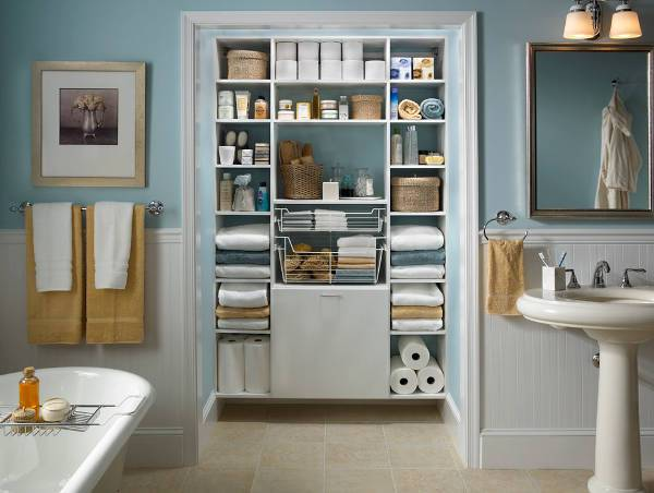 small bathroom closet shelves idea