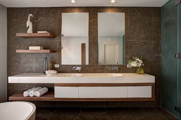 modern wooden bathroom shelves