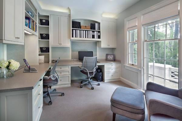 corner home office desk storage idea