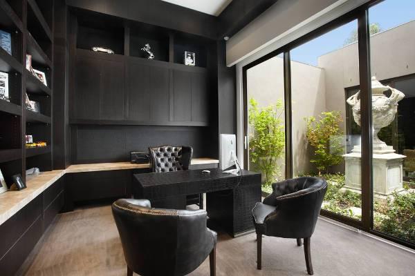 contemporary black home office desk