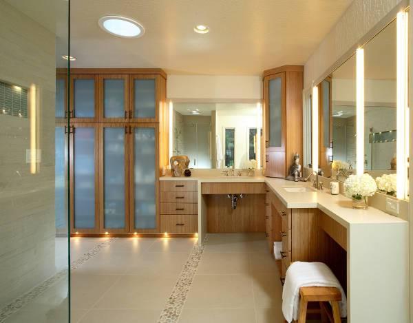 wooden corner bathroom storage