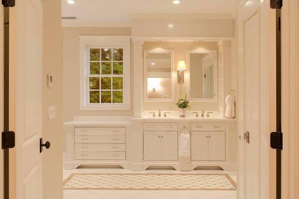 traditional white bathroom storage