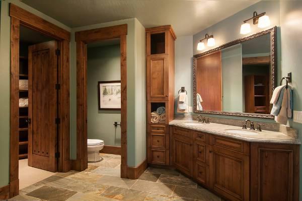 rustic wood bathroom storage