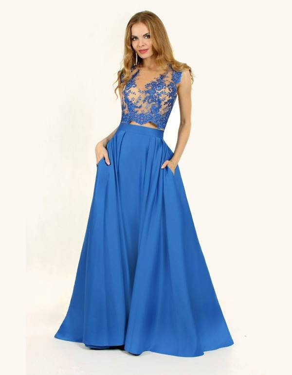 two piece long length prom dress