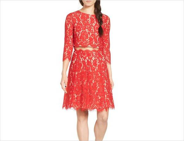 red two piece lace dress