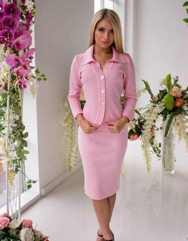 pink two piece casual dress