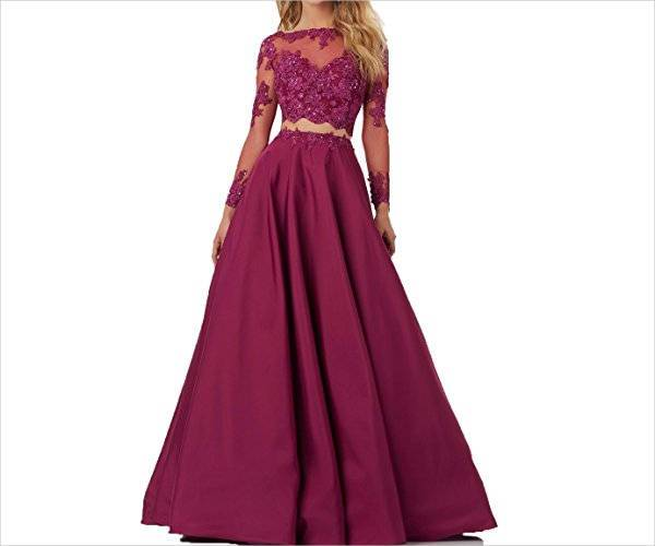 long sleeve two piece evening dress