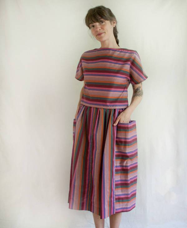 vintage striped two piece dress