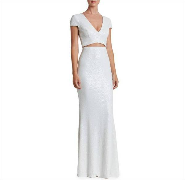 white two piece long length dress