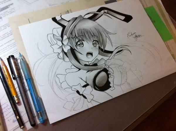 cool anime girl drawing design