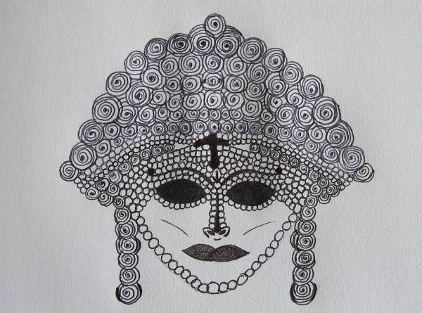 cool eyes mask hand drawing