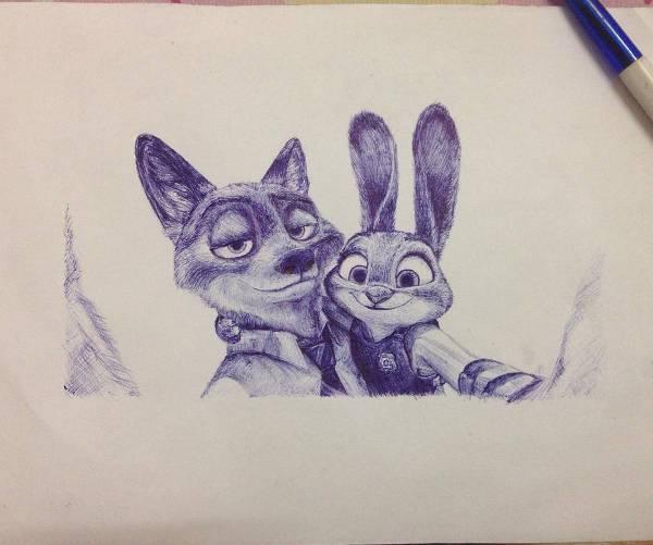 cool cartoon pen drawing
