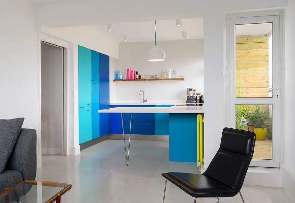 small open kitchen with colorful cabinets