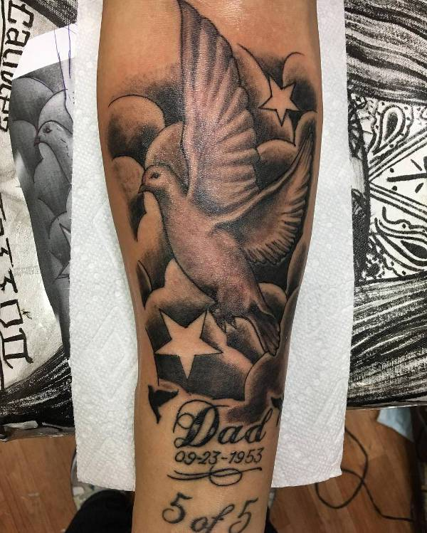Cloud and Dove Tattoo on Hand