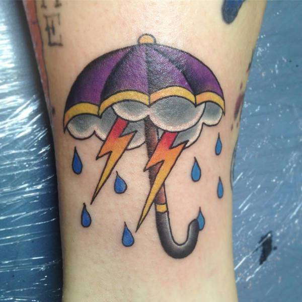 Storm Cloud and Umbrella Tattoo