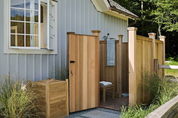 outdoor wooden shower stall