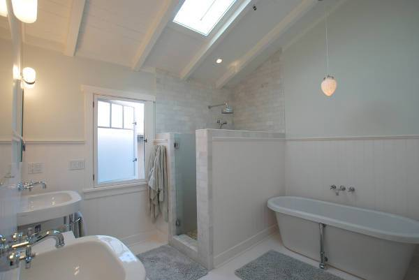traditional basement shower stall