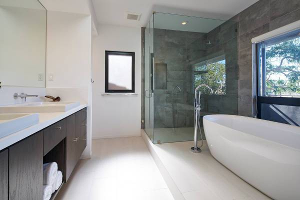 modern glass shower stall