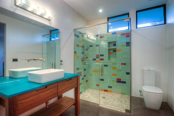 colorful tiles shower stall