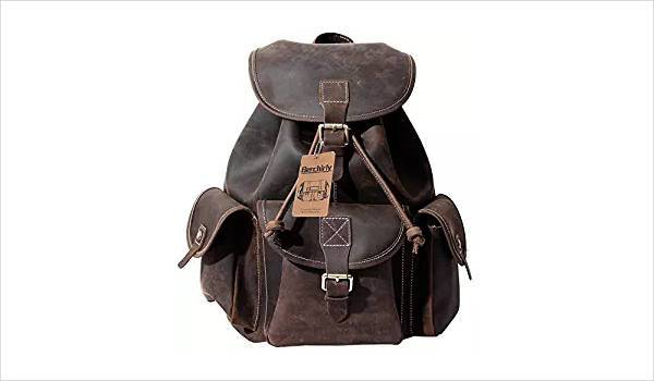 vintage buckle flap leather backpack