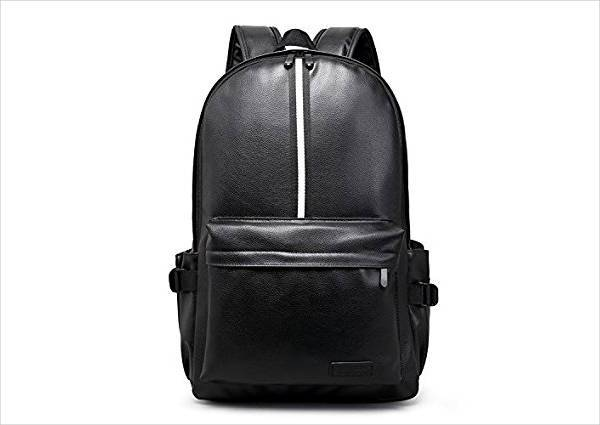 black leather strap backpack