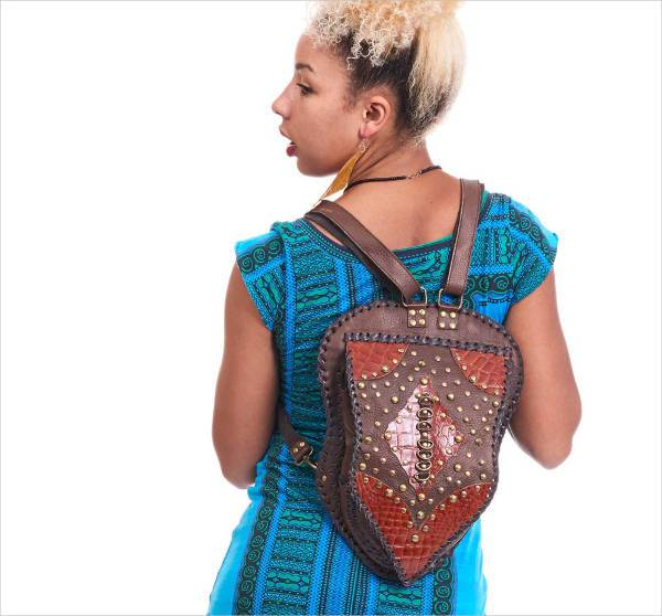 tribal studded leather backpack