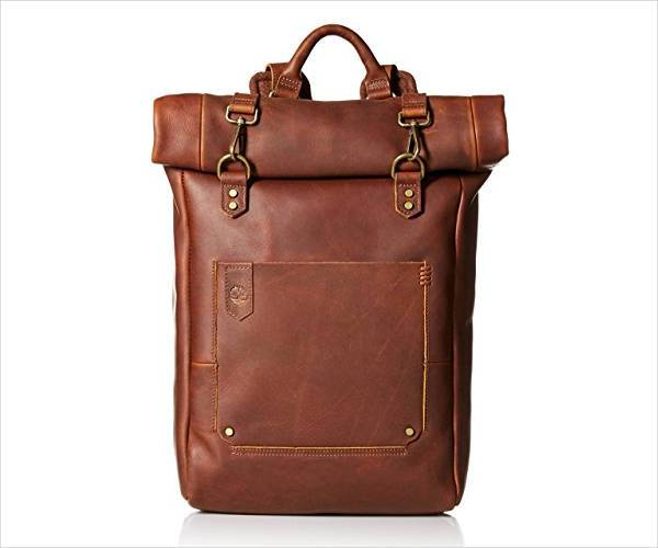 leather roll top backpack for men
