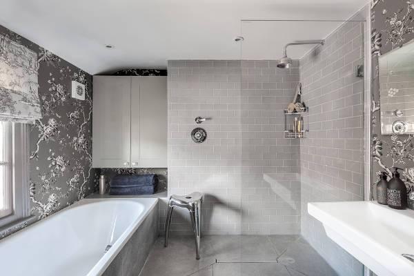 grey shower subway tiles