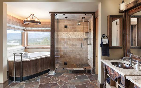 small rustic bathroom floor design