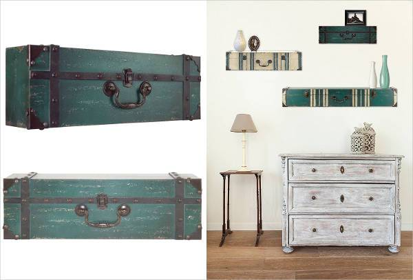 vintage suitcase shelves