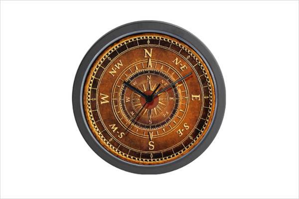 compass style clock