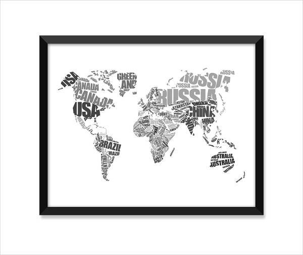 typographic world map art print