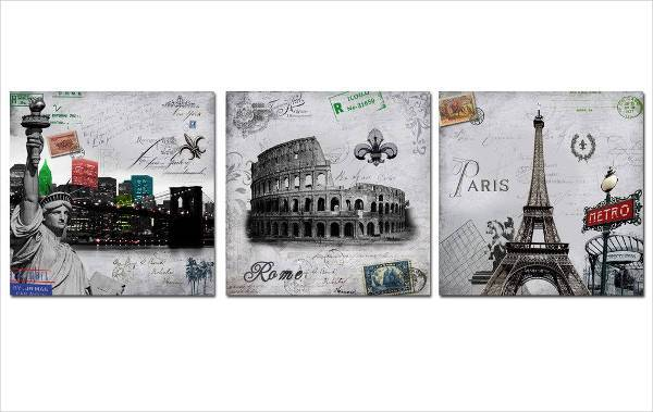 3 piece travel themed wall art2