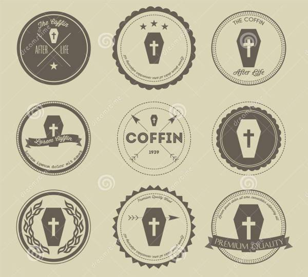 vintage coffin business logo