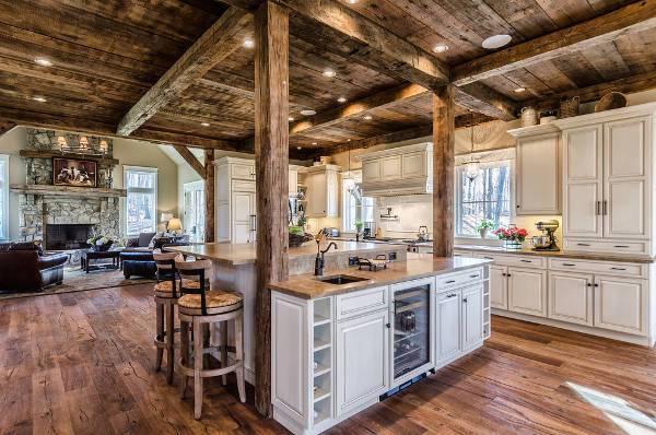 rustic wood flooring for kitchen
