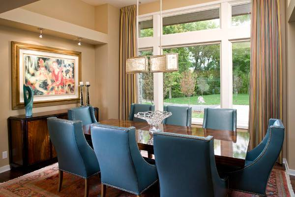 blue leather dining room chairs